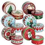 amazon com empty winter holiday cookie tins set of six
