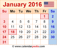 january 2016 calendars for word excel pdf