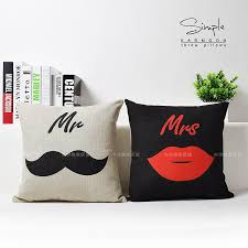 mr and mrs pillows online shop mr mrs cushion cover linen moustache lip throw