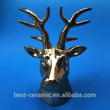 Christmas Decorated Deer Head by Cheap Modern Design Electroplated Ceramic Christmas Decoration