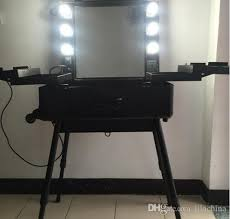 makeup case with lights and mirror rolling studio makeup artist cosmetic case w 6x 40w light bulb