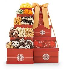gift towers yuletide treats tower gift towers five cheerful gift