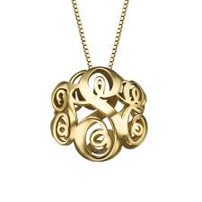gold plated monogram necklace 3d gold plated monogram necklace mynamenecklace