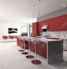 modern open plan kitchen modern open plan red kitchen interior with a long counter with