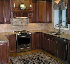 traditional kitchen backsplash with varnished wood kitchen