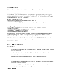 Accounting Job Resume Objective Resume Objective Examples How To Write A List Of Job Objectives