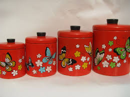 retro canisters kitchen retro butterflies ransburg kitchen canisters 60s vintage metal tole