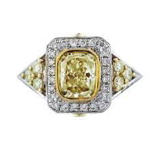 fancy yellow diamond engagement rings cushion cut fancy yellow diamond engagement ring 18k two tone gold