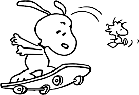Snoopy Flags Snoopy And On Skate Woodstock Coloring Page Wecoloringpage