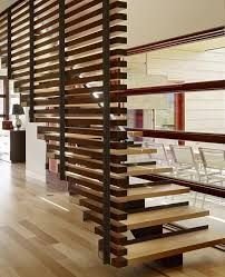 architecture unusual home stair design with wood railing and