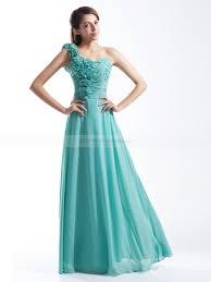 rosette one shoulder chiffon a line long bridesmaid dress