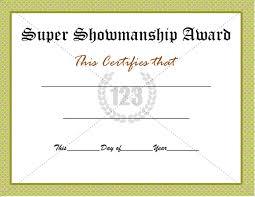 super showmanship award certificate template download