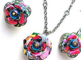 flower necklace earrings images Colorful aluminum can flower necklace earrings set eco friendly jpeg