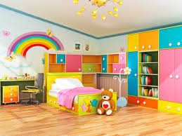 Kids Bedroom Storage Furniture Adjustable Beds Sturdy Kids Wooden Beds With Cute Bedding Set