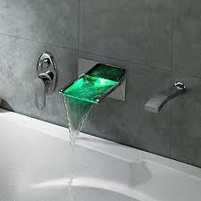 Tub Faucet Hand Shower Wall Mount Waterfall Tub Faucet With Pull Out Hand Shower