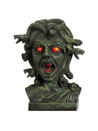 animated halloween lights amazon com animated medusa bust w light up eyes standard