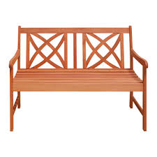 vifah 4 ft wood garden bench v1493 the home depot