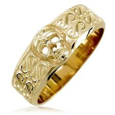 mens skull wedding rings mens wide skull wedding band ring with s pattern in 14k yellow