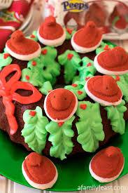red velvet peeps holiday wreath cake a family feast