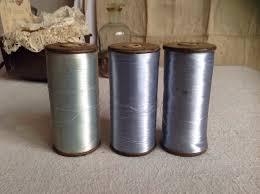 antique silk bobbins wooden reels blue spools 1pc french