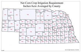 Map Of Counties In Nebraska Net Irrigation Requirement Map Department Of Natural Resources