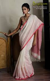 Pink Colour Combination Dresses by Soft Khadi Cotton Saree In White And Red Color Combination