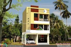 kerala home design front elevation apartments three storied story house plan and elevation sq ft