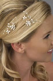 rhinestone hair pearl hair pin bridal hair pin floral spray and pearls
