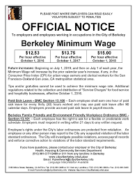 City Of San Jose Zoning Map by Minimum Wage Ordinance City Of Berkeley Ca