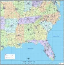 Road Map Of Mexico by Southeast Us Wall Map Magnified Image