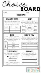 127 best ela choice boards images on pinterest choice boards