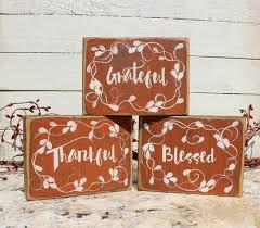 fall decor wood blocks grateful thankful blessed autumn sign