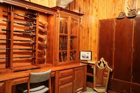 Wooden Wall Display Cabinets Locally Amish Custom Made Gun Cabinet Wall Unit Side View Custom