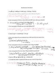 worksheet ã â u20acâ u201c stoichiometry mass mass limiting reagents