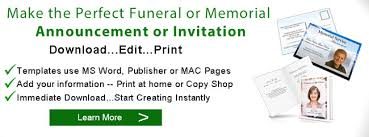 sle funeral programs funeral announcements memorial announcement template obituary