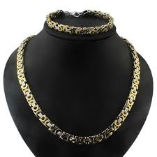 mens byzantine necklace gold images Men hip hop stainless steel gold silver byzantine chain necklace bra jpg