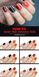 tutorial halloween spider web nail art