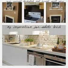 kitchen accessories open shelf beneath cabinets with brick