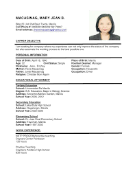 format for a resume example