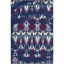 Cobalt Blue Area Rug Rectangle Ikat Blue Area Rugs Rugs The Home Depot