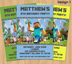 Minecraft Invitation Cards Minecraft Birthday Invitations Minecraft Birthday Invitations