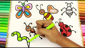 coloring drawing insects ant beetle butterfly earthworm