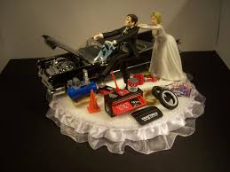 car wedding cake toppers auto mechanic running groom 1959 cadillac black car