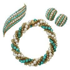 1960 s earrings 1960s cleef arpels twist turquoise pearl bracelet earrings
