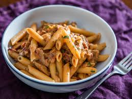 penne boscaiola woodsman style pasta with mushrooms and bacon