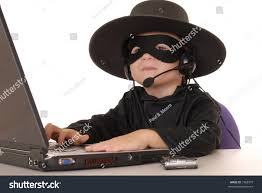 Laptop Help Desk Child Costumed Zorro Laptop Helpdesk Stock Photo 1968379