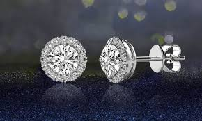 earrings images 3 44 cttw halo stud earrings with swarovski elements groupon