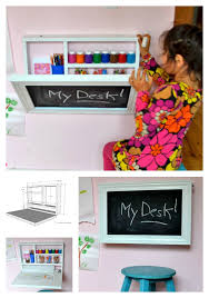 Free Toy Box Plans Chalkboard by Make Use Of Your Wall Space With This Little Art Desk Chalkboard