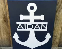 nautical wall decor nursery anchor decor sign personalized