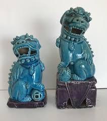 blue foo dogs antique porcelain turquoise blue pair foo dogs 26 00